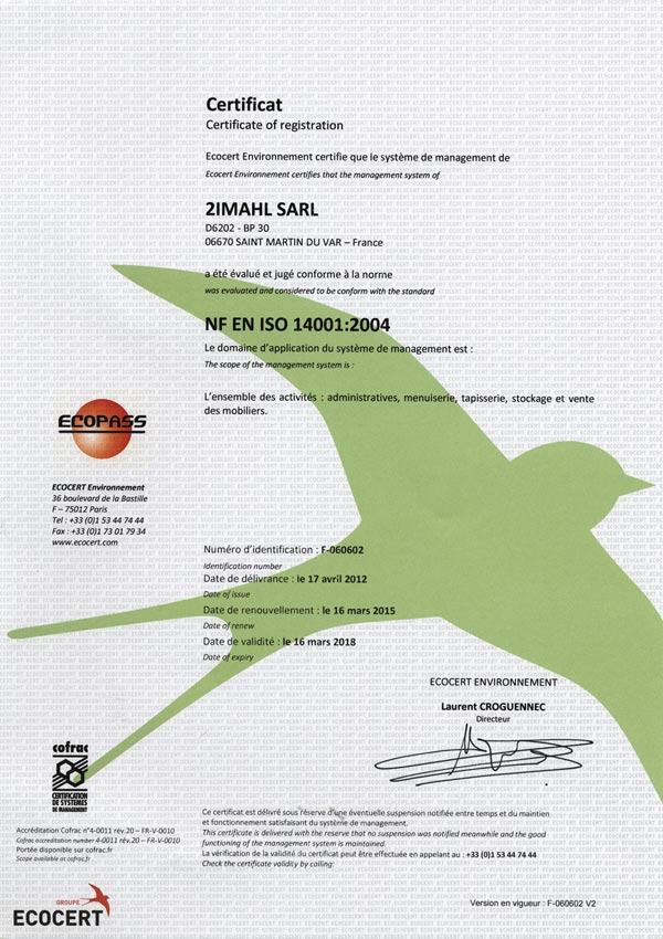 Certification a la norme ISO 14001:2004